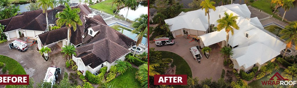 Property damaged by tropical storm is protected by the WrapRoof solution.